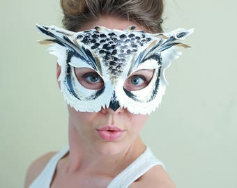 White Owl Leather Mask - Adult or Child Size - Masquerade Mask - Halloween Animal Costume - Woodland Mask - Great Horned Owl - Bird Owl Mask