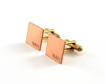 Personalised Copper Cuff Links, Engraved Cufflinks, Monogrammed Groomsmen Gift, Custom Wedding Accessories, Mens Gift, Square Cuff Links