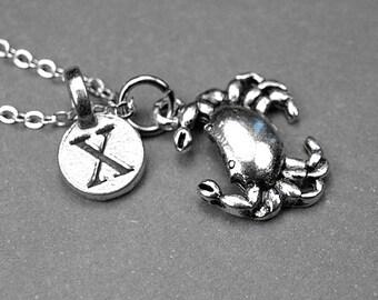 Crab necklace, crab charm, crab charm necklace, personalized jewelry, personalized necklace, initial necklace, initial charm, monogram