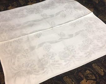 "Antique Vintage Tablecloth & Napkins-Irish Linen Double Damask Banquet Tablecloth 12 Large Matching Napkins-Roses-Ribbons 108"" x 66"""