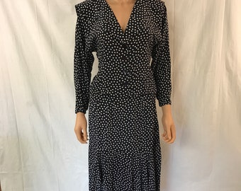 Vintage Argenti Outfit, Size 6, Polka Dot Outfit, Polka Dot Dress, Blue Dress, Blue Skirt and Top,  Wide Collar, Flare Skirt, Button Up Top