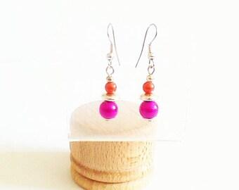 Earrings Fuchsia and orange