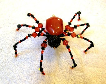 Beaded Spider Ornament in Black and Orange - Halloween Decoration, Christmas Spider