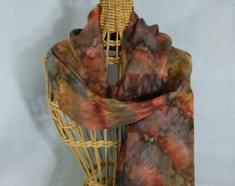 """Silk Scarf """"Rust and Brown Blend"""", Hand Painted Silk Scarf"""