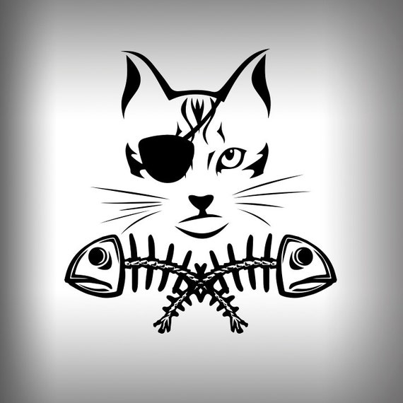 Pirate Cat Fish Bones Graphic Decal Outdoor Vinyl Car Decal