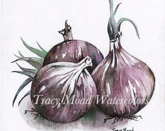 Purple Onions watercolors vegetables painting gardening tracymoadwatercolors