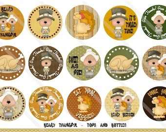 Beary Thankful 1 Inch Circles Collage Sheet for Bottle Caps, Hair Bows, Scrapbooks, Crafts, Jewelry & More