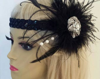 """GATSBY HEADBAND, Black Feather Fascinator With Sequin Headband, Roaring 20s, Downtown Abbey """"LILLY"""""""