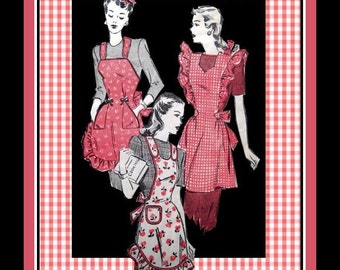 Vintage 1940s-WW2 Era WAR Bride APRONS-Sewing Pattern-Three Styles-Sweetheart Neckline-Patch Pockets-Pinafore-Halter Styles-Size 12-14-Rare
