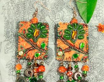 "Tribal Earrings ""Sunset in the Serengeti"" tribal illuminati boho"