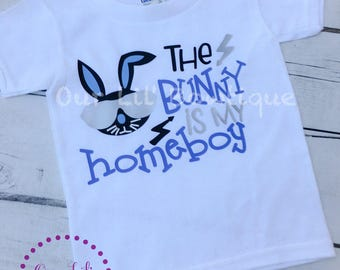 The Bunny Is My Home Boy - Boy Bunny Shirt - Easter Shirt - Personalized Easter Shirt - Boys Easter Shirt -Raglan - Navy - Easter Bunny Shir