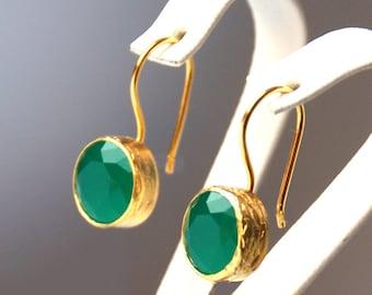 French Style Green Drop Earrings, sterling silver coated with 18K gold, green zircon earrings, green french hook, green round earrings,