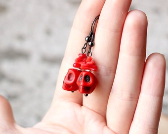 Candy Red Earrings, Sugar Skull Earrings, Day of the Dead, Red Coral Stone Earrings, Gothic Gifts, Dia de los Muertos, Gunmetal Grey Jewelry