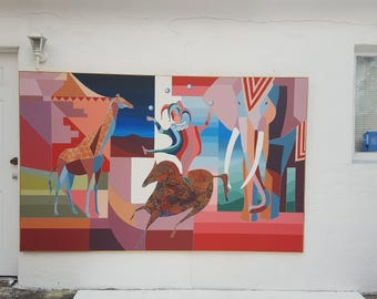 1970's Overscale Cubist Shape  Colorful Signed Abstract Painting .