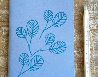 "Hand printed notebook ""leaves"""