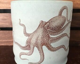Durable Green Stoneware Squid Utensil Holder