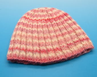 handspun, hand-dyed, handknit, ribbed wool baby hat