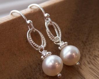 Everyday Pearl Earrings, dangle pearl earrings, everyday earrings, dainty pearl earrings, freshwater pearls, ivory or white pearl earrings