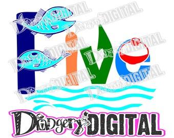 Instant Digital Download - SVG/PNG - FIVE - Fish Bobber Hook Line Waves Splash Fishing Buddy - Cut Print Make Cards Tees Decor