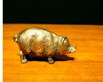 Vintage Small Brass Pig Piglet Sow Figurine