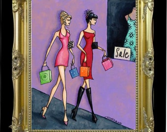 Whimsical Women Art Print, Fashion Illustration, Boutique Art Print, Shopping Bag, Salon Art Print, Beautician Gift, Salon Wall Decor, Shano
