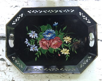 Vintage Tole Tray Hand Painted Black Floral Large