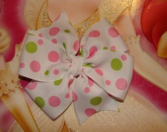 Polka Dots Large Easter Pinwheel Hair Bow