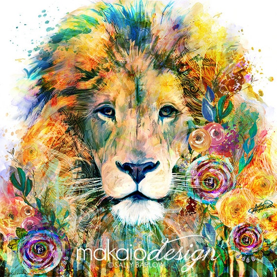 Bright Colorful Lion Flower Painting Mixed Media Wall Art