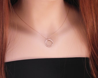 Hammered Circle, Rose Gold Open Circle Necklace, Rose Gold Necklace, Layering necklace, Simple Necklace, Dainty necklace
