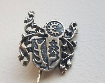 Silver Stick or Lapel Pin with Crest