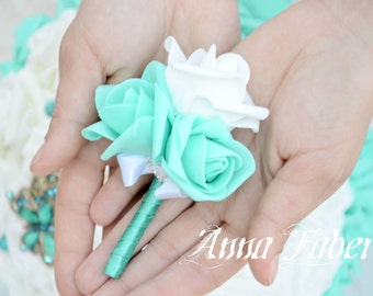 Turquoise Boutonniere, Boutonniere in handmade,Rustic Boutonniere, Mens wedding boutonnieres, Wedding boutonniere.
