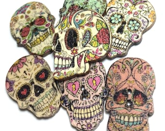 Day of Dead Buttons, Sugar Skull Buttons, Wood Buttons, Skull Wood Beads, Multicolored Buttons (set of 10)