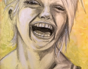 "Original Ink and Gouache Art - Face Study: ""Laugh"" - 4x6 inches hand drawn ink and gouache illustration OOAK"