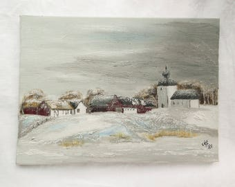 Original oil painting Vintage oil painting Snowscene painting Vintage landscape oil painting Oil painting on stretched linen canvas