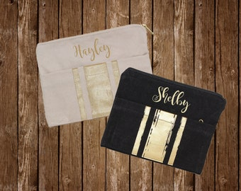Monogram Embroidered Zipper Bag - Perfect for Bridesmaids!
