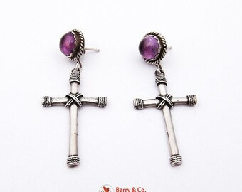 SaLe! sALe! Wonderful Cross Dangle Earrings Sterling Silver Amethyst