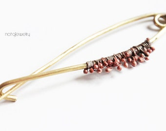 Sweater pins, Brass shawl pin, Yellow Brown jewelry, Brass jewelry, Shawl pins, Copper pin, Contemporary jewelry, Brass jewelry, Safety pins