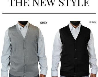 Men's Solid Color Cardigan Sweater Vest