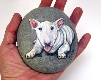 White Bull Terrier-Paperweight-Hand painted Stone-Home Decor-Painted Rock-Bull Lovers