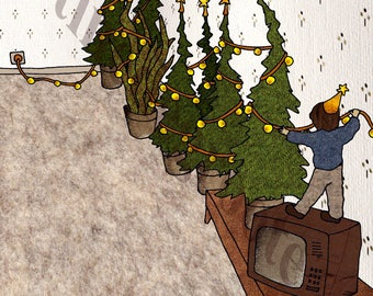 Card, Christmas card, Christmas, Christmas trees