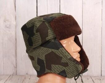 Army winter hat, Winter uniform hat, Vintage warm hat, Military winter hat, Ushanka, Camouflage hat, Trapper hat , Military woollen hat