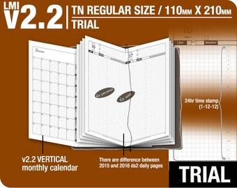 Trial [TN regular v2.2 w DS2 do1p] July to September 2018 - Midori Travelers Notebook Refills Printable Planner.