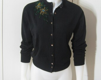 Vintage 50s Sweater Black Beaded Cardigan, Front Floral Hand Beading, Lambswool + Mink, Minklam By Darlene,  Pin Up Sweater Girl, Bust 38 40
