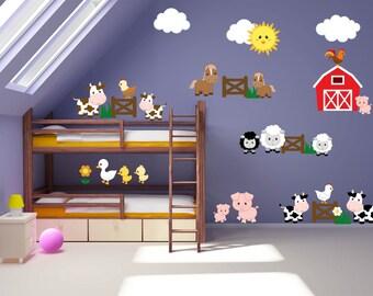Kids Room Wall Decals - Farm Wall Decals - Farm Animal Decals - Farm Animal Nursery Decor - Farm Theme Kids Room
