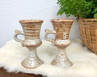 Vintage Pair of Speckled Stoneware Goblets / Handmade Wheelthrown Clay Wine Glasses / Glazed Pottery Dishware
