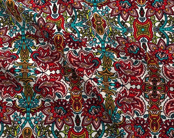 Red Floral Paisley Fabric - Large Paisley By Whimzwhirled - Red Floral Summer Paisley Cotton Fabric By The Yard With Spoonflower