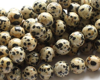 6mm Natural Dalmatian Jasper Dot Spotty Dotty Jasper Beads 10 pcs or strand  for bracelet, mala, necklace earrings diy wholesale bulk
