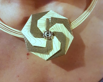 Mizuhiki and Yuzen Origami modular swirl necklace