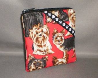 Yorkie Coin Purse - Gift Card Holder - Card Case -Small Padded Zippered Pouch - Mini Wallet - Dogs - Yorkshire Terrier