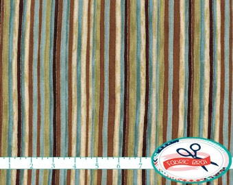 TEAL & BROWN Fabric by the Yard, Fat Quarter Stripe Fabric Metallic GOLD Fabric 100% Cotton Fabric Quilting Fabric Apparel Fabric t1-17